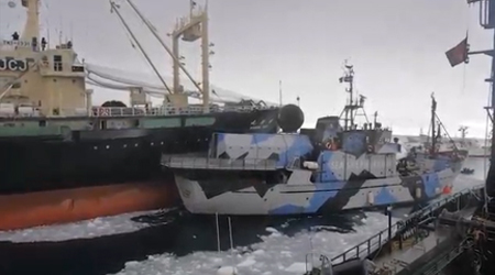 The Japanese whaling vessel, the Nisshin Maru, rams the Sea Shepherd ship Steve Irwin