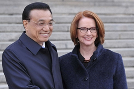 Li Keqiang and Julia Gillard