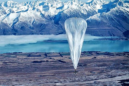 Green innovation: A test balloon flies over Tekapo Airfield in Project Loon