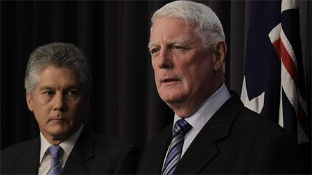 Defence minister Stephen Smith with Defence Abuse Response Taskforce head Len Roberts-Smith