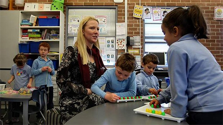 "Claire Lennox (pictured), a kindergarten teacher at St Michael's Catholic Primary School at Stanmore: ""Extra time off face-to-face would allow beginning teachers to establish themselves"""