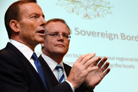 Tony Abbott and shadow immigration minister Scott Morrison announcing the Coalition's asylum seekers policy 'Operation Sovereign Borders'