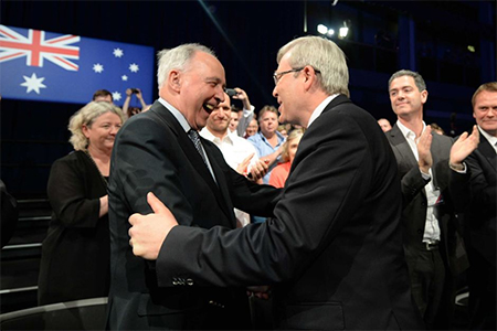 Prime Minister Kevin Rudd is welcomed by former prime minister Paul Keating at the Labor party campaign launch