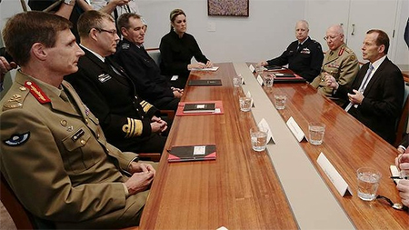 Prime Minister-elect Tony Abbott meets with Defence chiefs, including Major-General Angus Campbell (left), at Parliament House