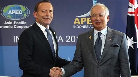 Ausrealian Prime Minister Tony Abbott meets with Malaysian Prime Minister Najib Razak in Bali