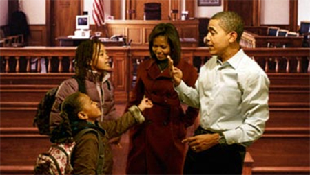The president and first lady try to work out a plea deal with their children during the case of Obama Offspring v. Overbearing Parents