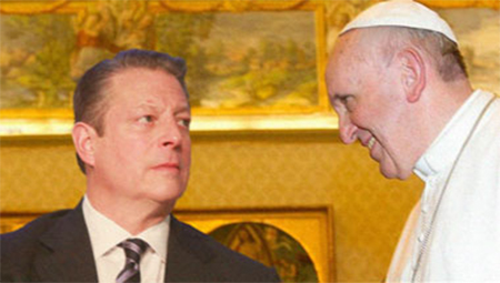 Pope Francis tries to explain what he meant but Al Gore is having none of it