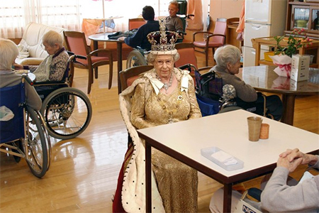 Queen Elizabeth II in her new surroundings