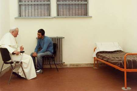 Pope John Paul II meets Mehmet Agca